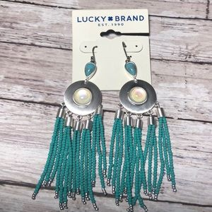 Lucky Brand silver & turquoise beaded earrings.